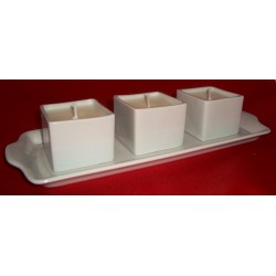 3 Bougies BOLS MING Collection Porcelaine Blanche